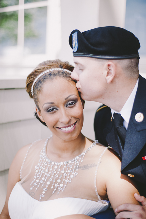 A couple kiss and gaze into the camera after the ceremony - Sahara Coleman - Professional Wedding Photographer, Destination Photographer 2014 Seattle Washington
