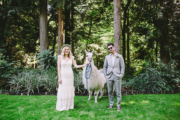 Bride and Groom pose with a llama - Sahara Coleman - Professional Wedding Photographer, Destination Photographer 2014 Seattle Washington