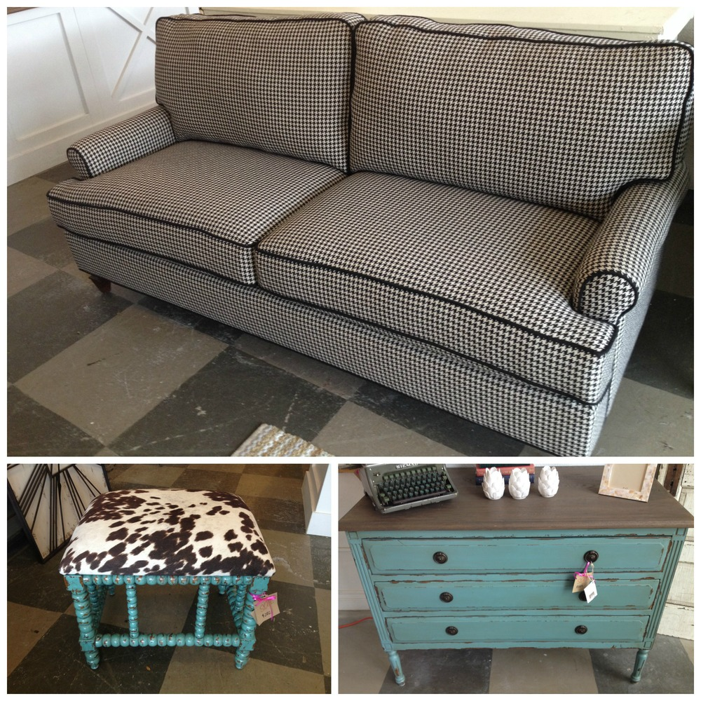 Top: Townsend Sofa // Reg. $1927 //  SALE: $1446   Bottom Left: Chahna Small Bench // Reg. $375 //  SALE: $282   Bottom Right: Paris Dresser // Reg. $865 //  SALE: $584