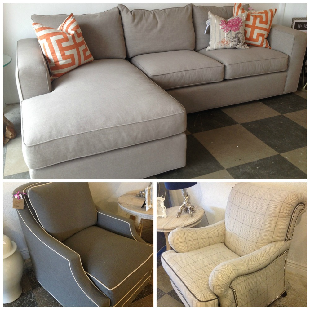 Top: Milton Two Piece Sectional // Reg. $4441 //  SALE: $3299   Bottom Left: Renee Chair // Reg. $1410 //  SALE: $1058   Bottom Right: Ellis Chair // Reg. $1739 //  SALE: $1299