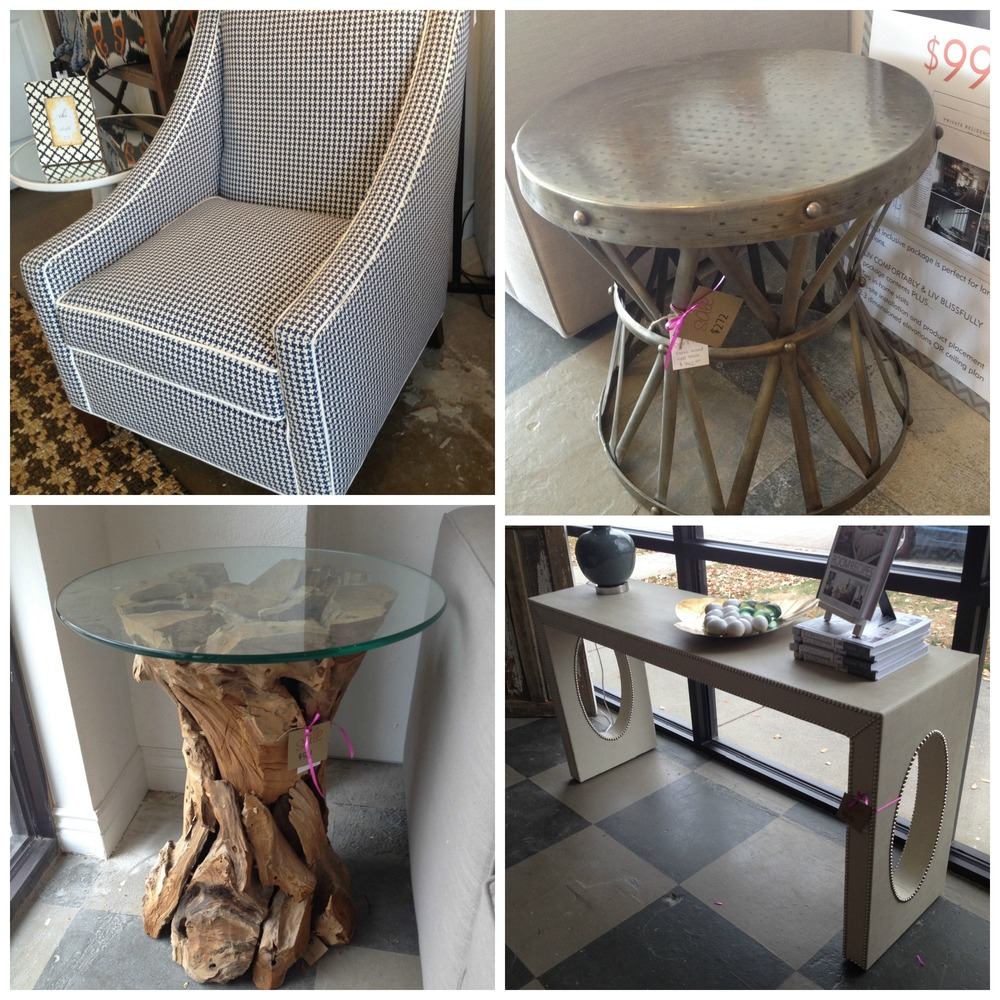 Top Left: Eva Chair // Reg. $1438 //  SALE: $1199   Top Right: Brass Round Side Table // Reg. $362 //  SALE: $272   Bottom Left: Teak Root Table // Reg. $685 //  SALE: $514   Bottom Right: Custom Upholstered Console // Reg. $1486 //  SALE: $1115
