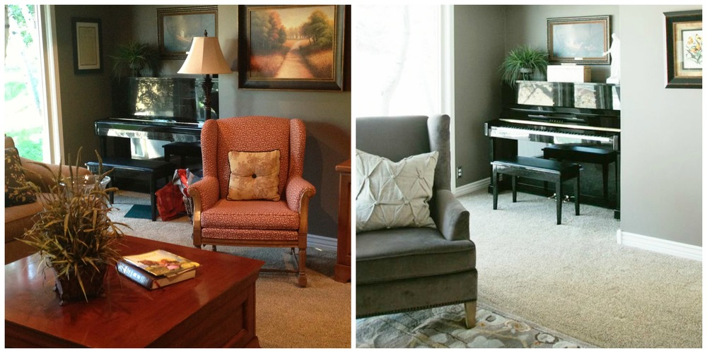 Left: Living room BEFORE. Right: Living room AFTER. The room feels more open and less cluttered with minimal furnishings and accessories.