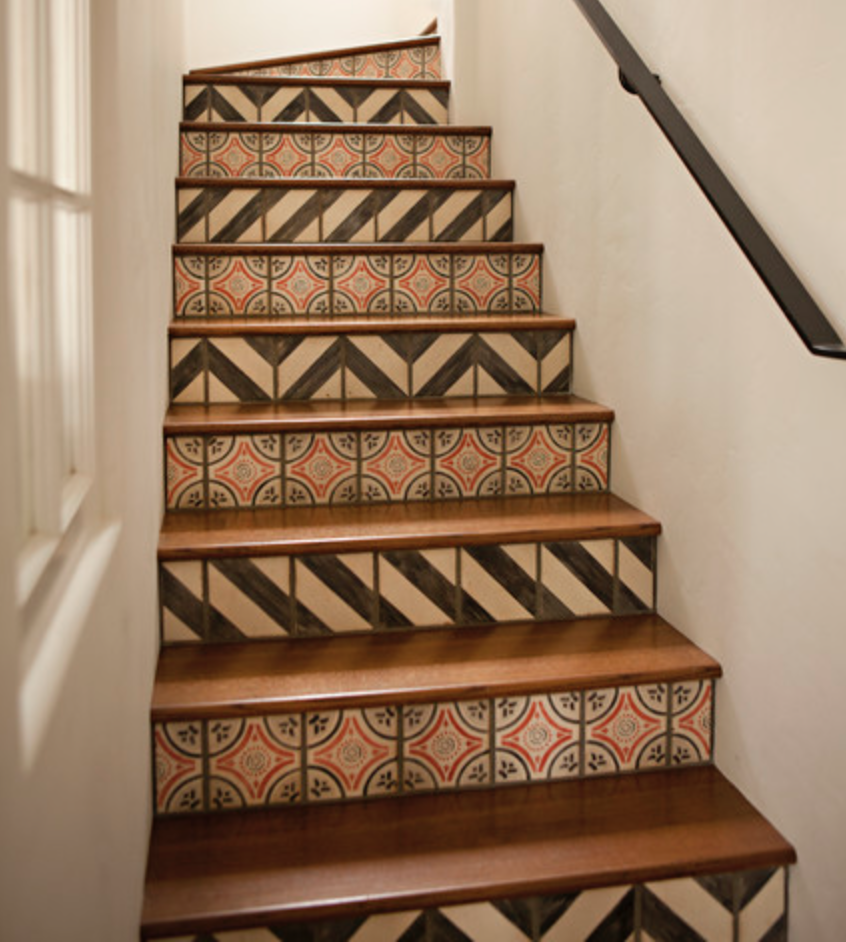 graphic tile on stairs