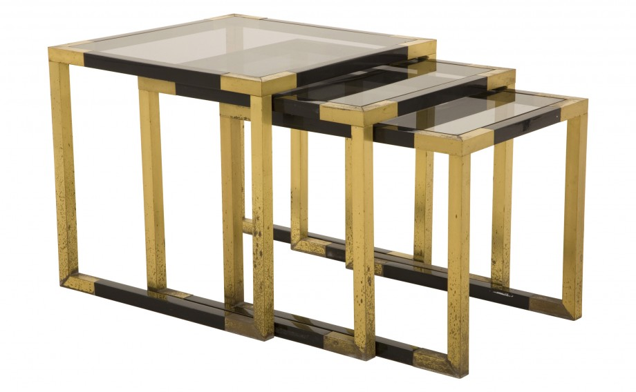 smokey glass nesting tables