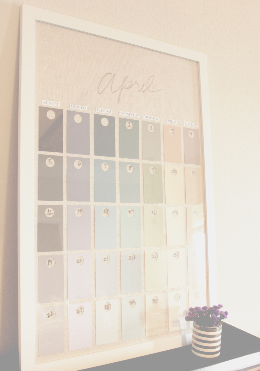 Diy Large Wall Calendar : Diy paint swatch wall calendar — hello lovely living