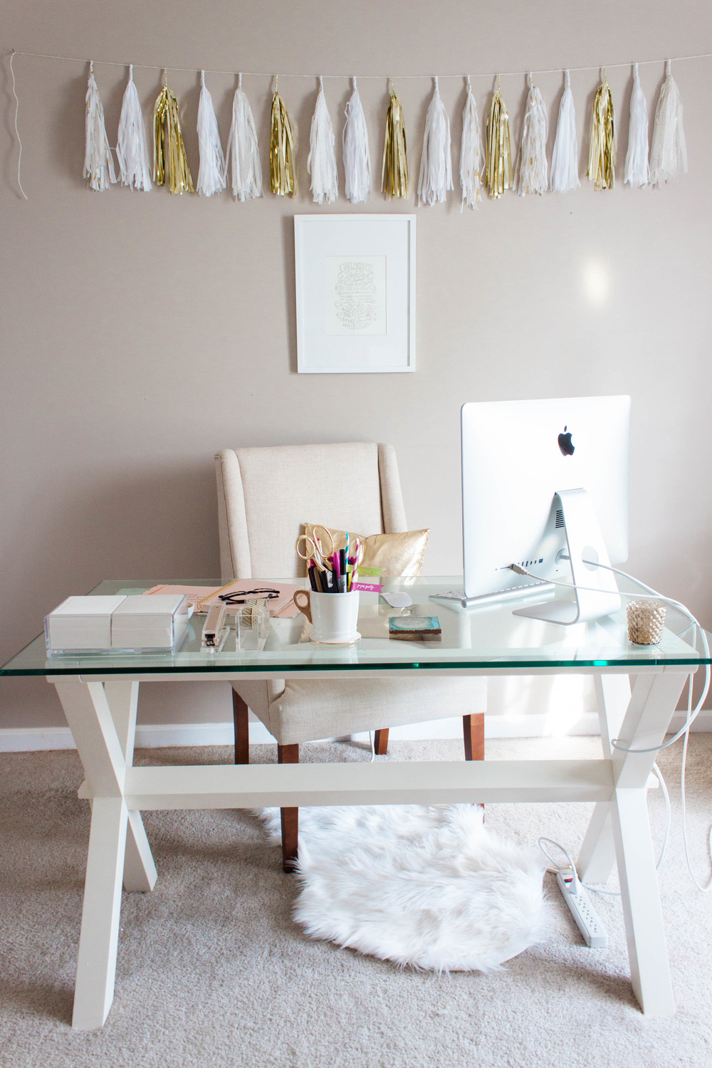 Small Home Office Design Ideas - Glass Desk - Small Home Office Design Ideas - Glass Desk €� Hello Lovely Living