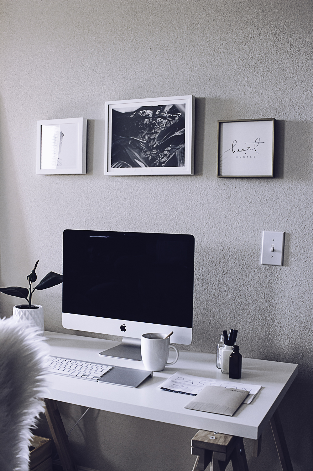 HelloLovelyLiving.com | Minimal Home Office + Minted Custom Art Prints