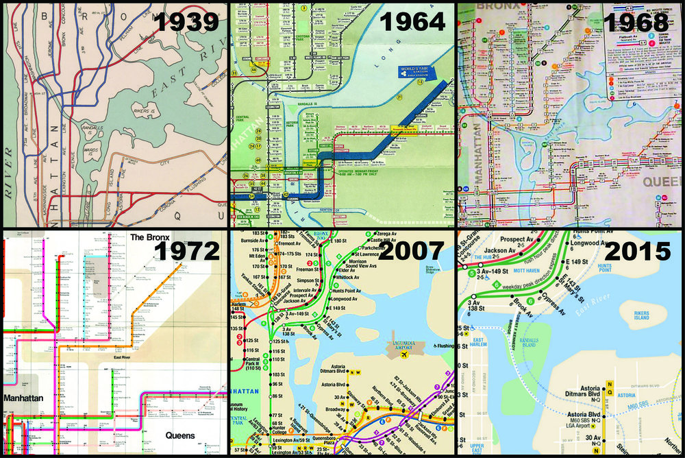 This collage of MTA maps show how Rikers appears and disappears on maps over time and is a part of the travelling exhibition.