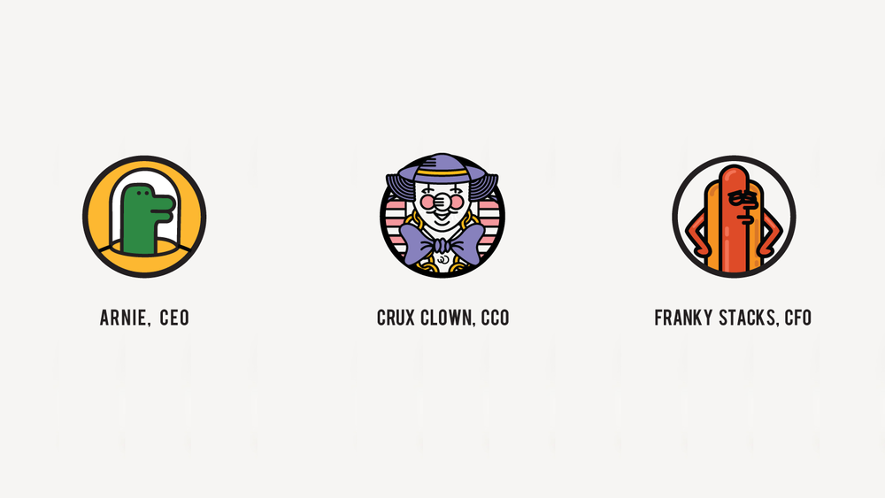 Arnie   (Chief Executive Officer)     Crux Clown   (Chief Creative Officer)   Franky Stacks   (Chief Financial Officer)
