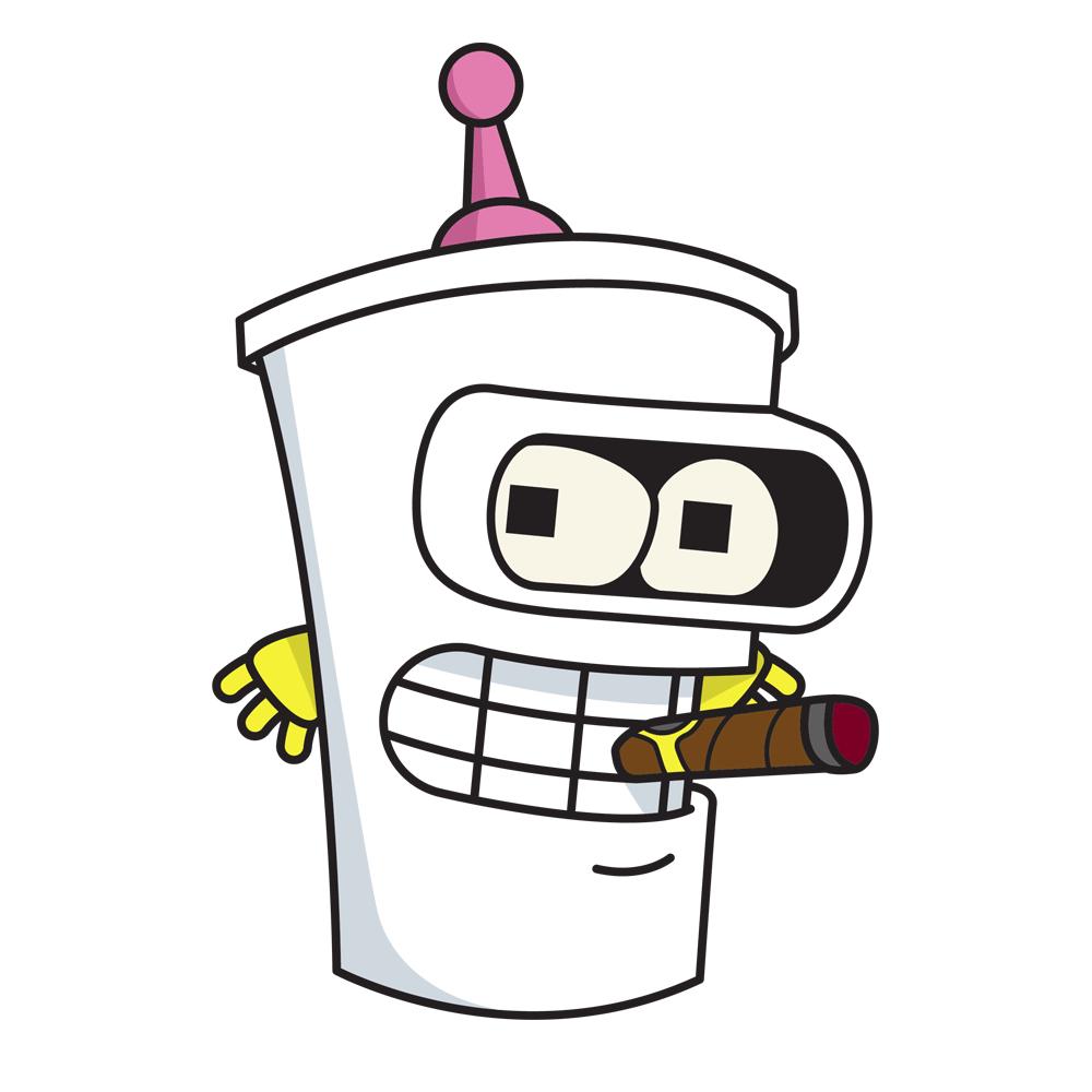 """Bite my shiny metal cup"" - Bender Shake"