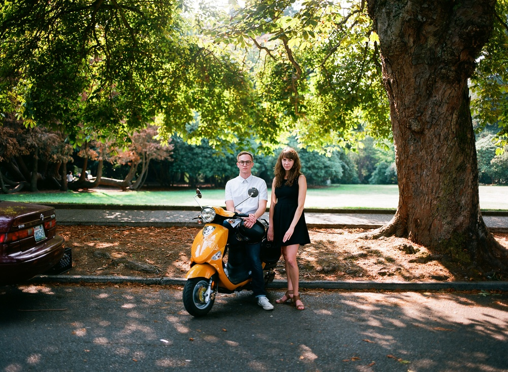 Engagement photography with a Moped.