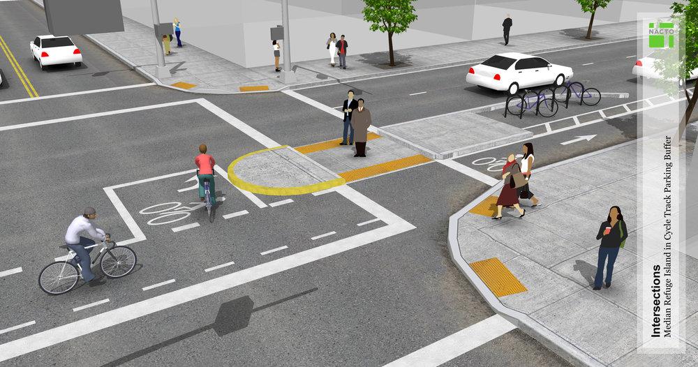 Pedestrian island design