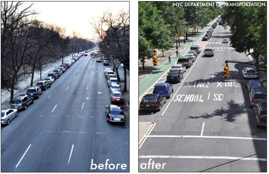 Before and after images, Prospect Park Bike Lane, Brooklyn, NYC
