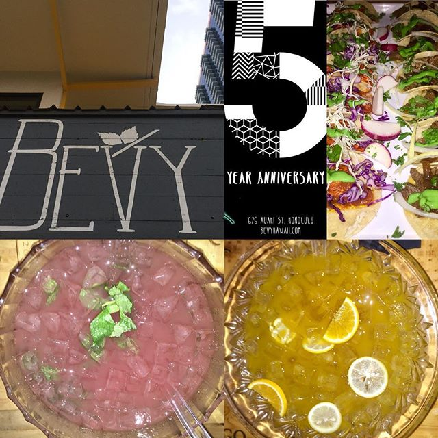 Happy 5 Year Anniversary @bevybar !  At tonight's #VIP party:  Debut of a new #taco program featuring Carne Asada taco with verde and grilled onion and a Chicken Tinga Taco  Tequila Punch with ancho Reyes, papaya, turmeric, lime  Vodka punch with, watermelon, mint cucumber lemon bubbly  #hawaiibeverage #hawaii #honolulu #cocktail #punch #instagood #instafood #kakaako