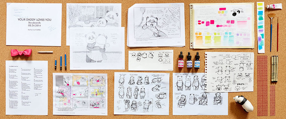 "Layout of the beginning stages of the book's development - from the original manuscript (bottom left) through to the first pencil storyboards for the ""dummy"" book, character development sheets and color study explorations."