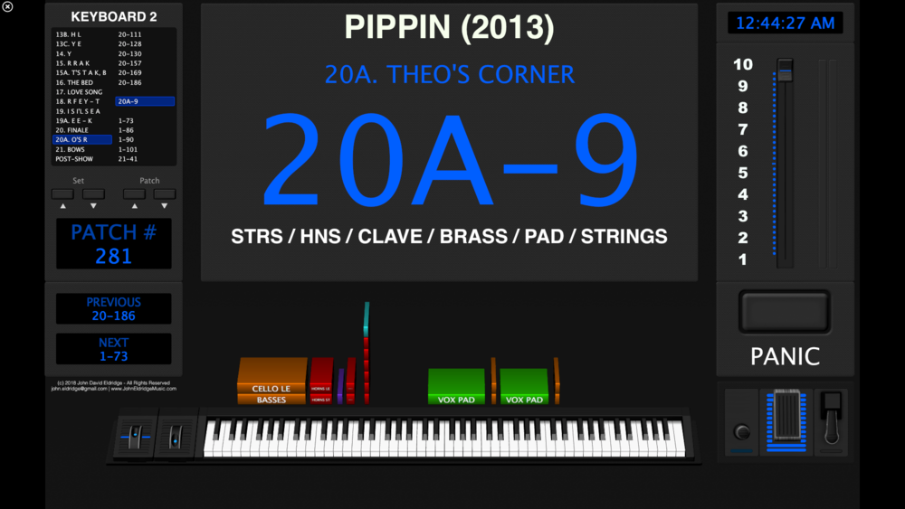 "Screenshot of the keyboard 2 programming for ""Pippin"" (2013 revival). See the score excerpt below."