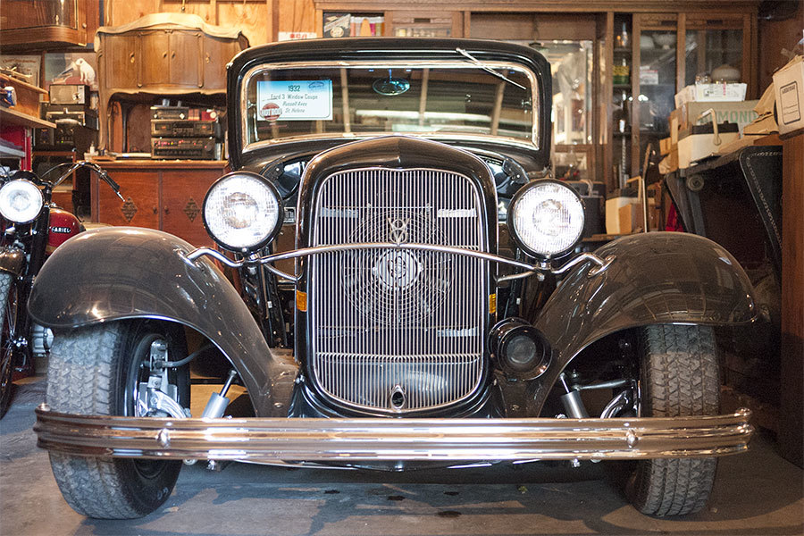 The first car Russ bought was this 1932 Ford three-window coupe.