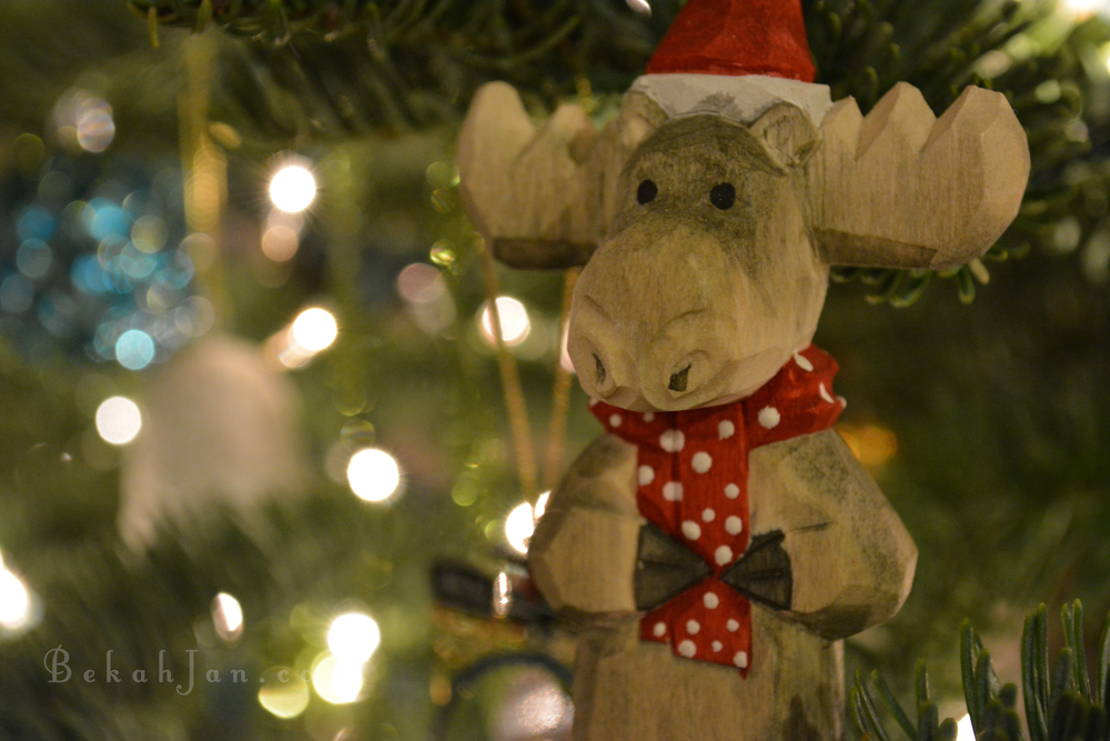 I picked up this cute little Christmas Moose ornament on our Alaskan cruise honeymoon over 7 years ago.