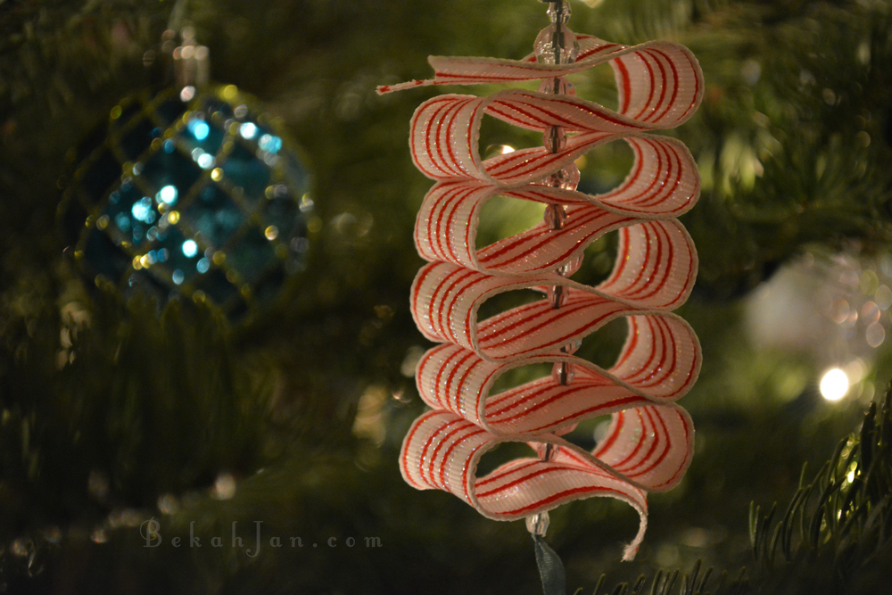 I handmade a lot of these ribbon candy ornaments before I was married to put on our first Christmas tree. It's one of Harrison's favorites.