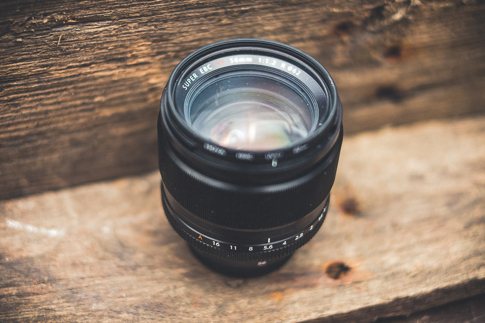 The Fuji 56mm - It's already in need of a clean.