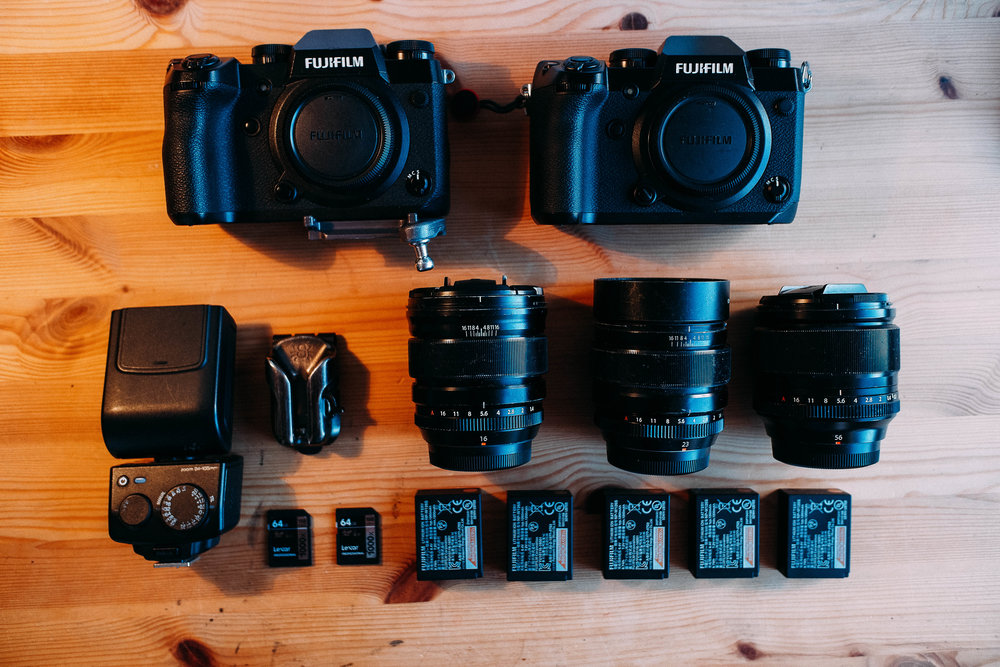 My mid-2018 wedding photography gear setup.