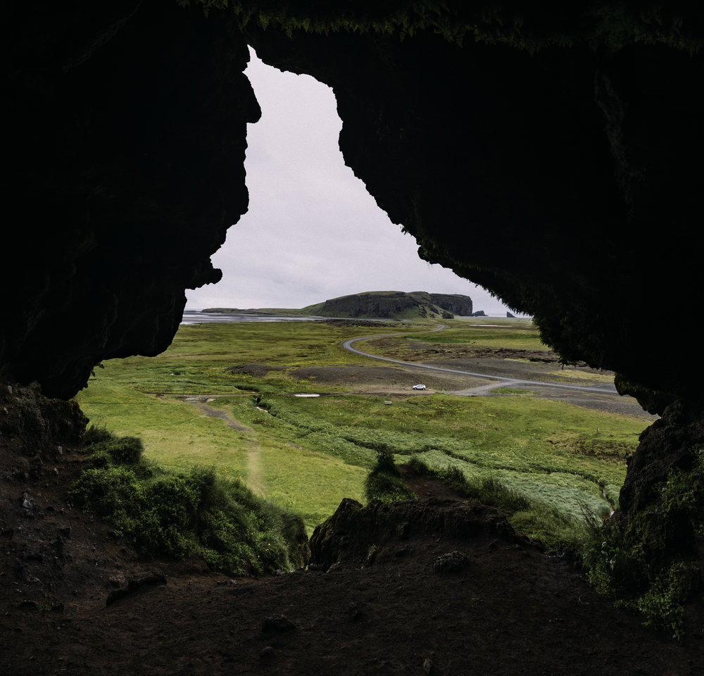 Cave near Dyrhólaey, you can park where you see my silver car, watch out for nesting birds which will dive bomb you. -  Fuji X-H1 + 16mm 1.4 lens [panoramic composite]