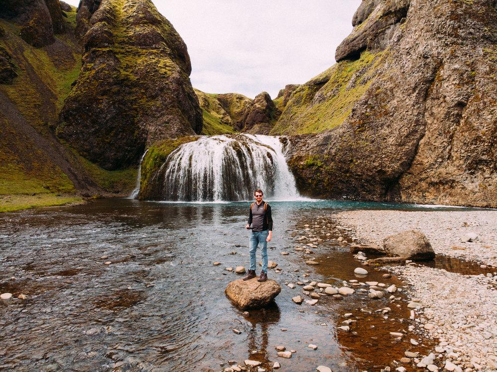 Stjórnarfoss Waterfall - You can park across the road and walk over -  [63.7826229,-18.1233331]  DJI Mavic Air Drone