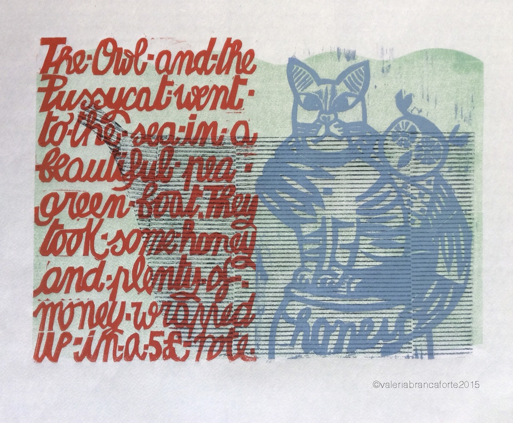 The Owl and the Pussycat , Edward Lear. 4-color print, additive plates. Valeria Brancaforte, 2015