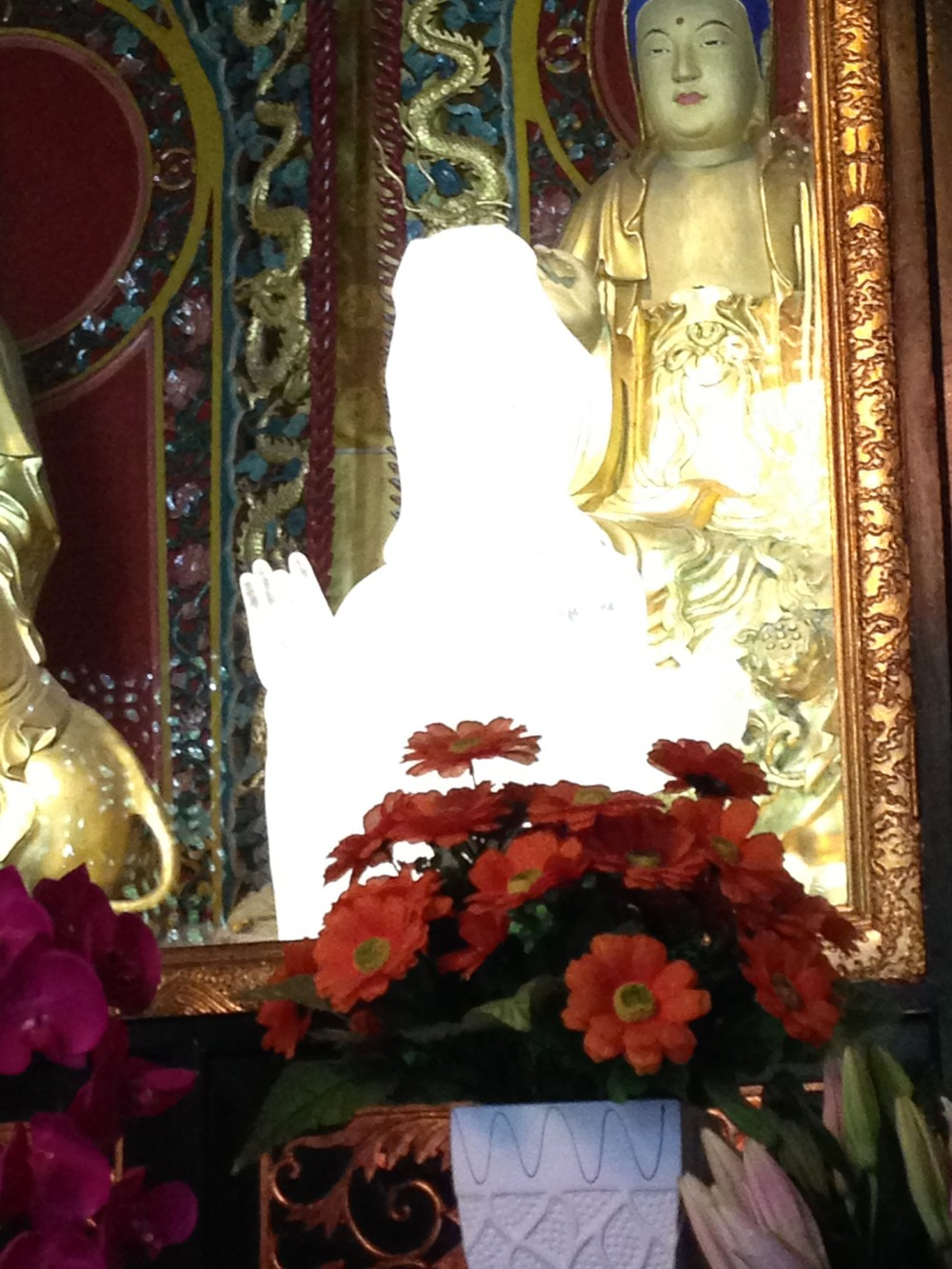 Yeshe took this photo of a crystal statue of Kuan Yin at the Manjushri temple in Chengdu, Sichuan Province.