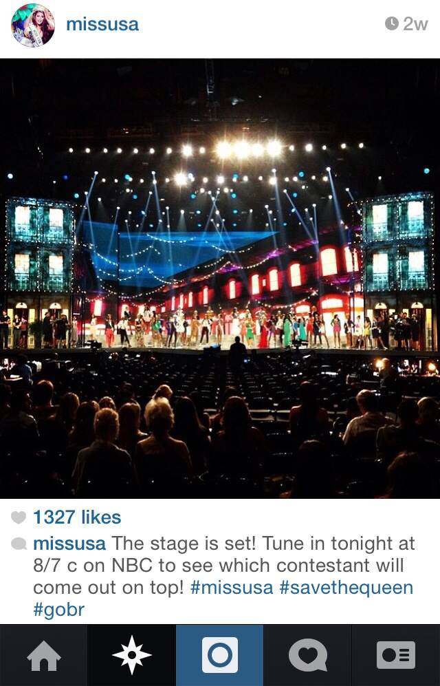 Photo I instagrammed on the Miss USA account right before the start of the 2014 Miss USA Competition in Baton Rouge.