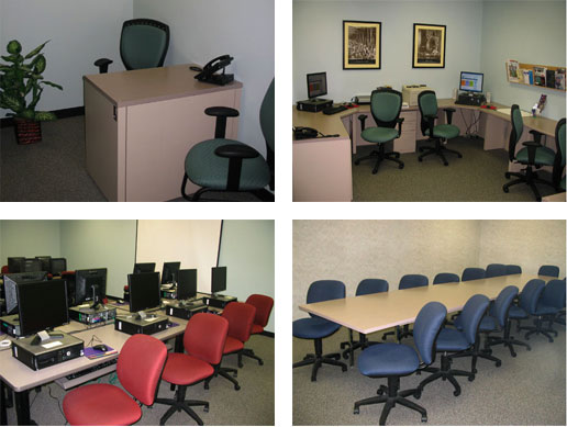 Top left: interview room. Top right: employer area. Bottom left: computer lab. Bottom right: conference room.