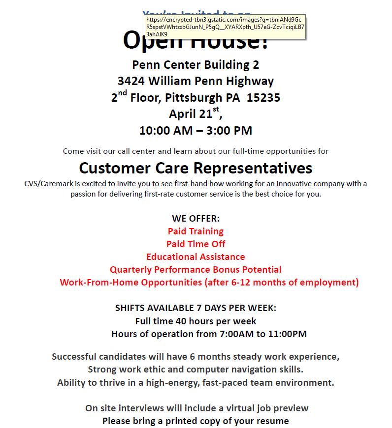cvs health open house careerlink pittsburgh