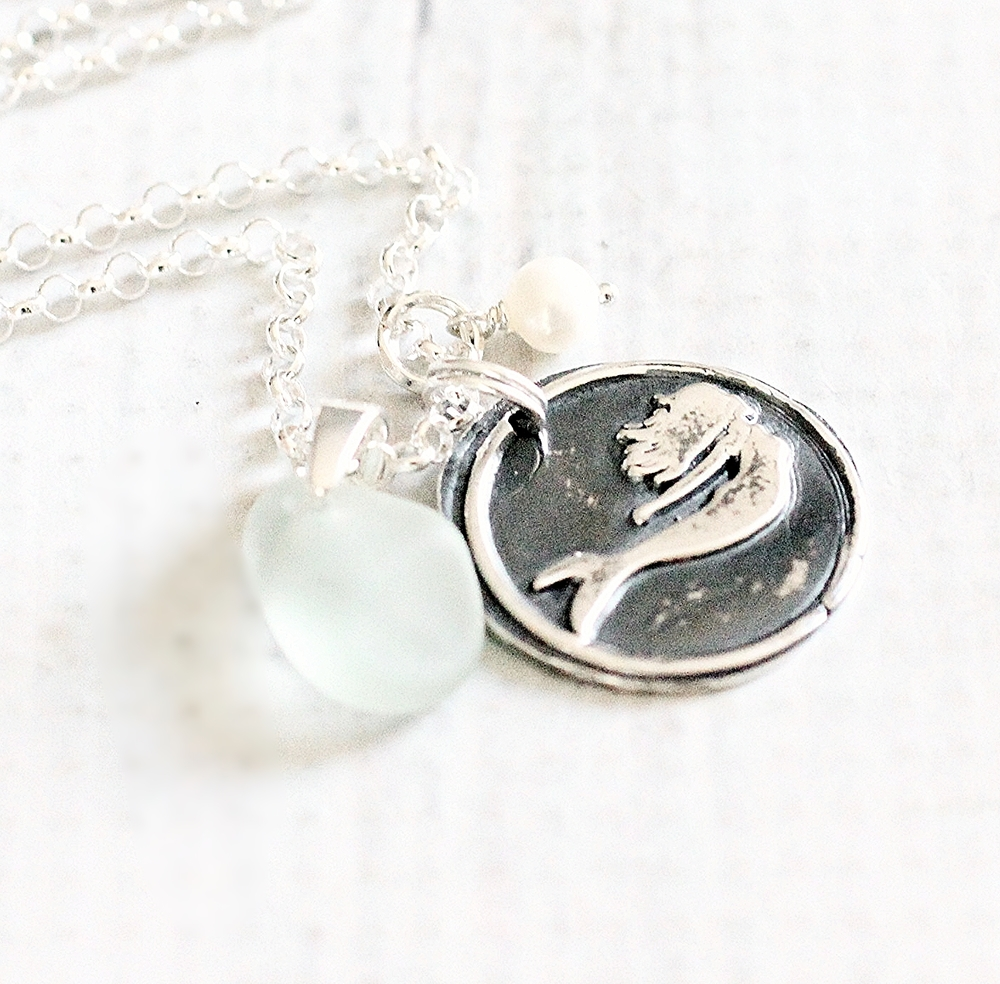 pmc precious metal clay mermaid necklace handcrafted sea glass jewelry by blue sail studios.JPG