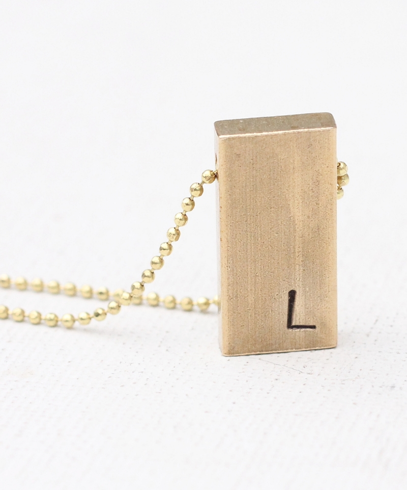 Hand stamped initial brass gold bar necklace
