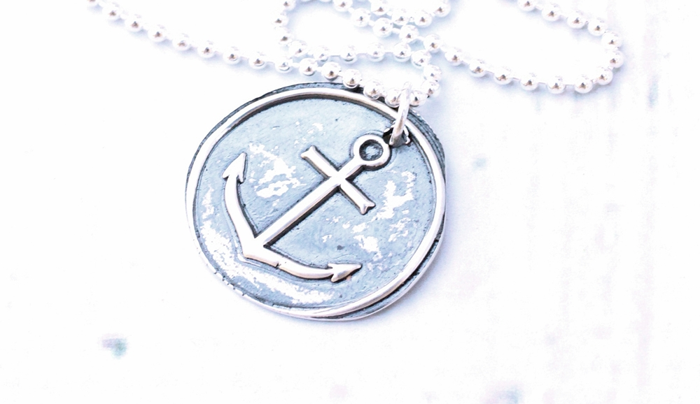 mens rustic anchor necklace fine silver wax seal anchor.JPG