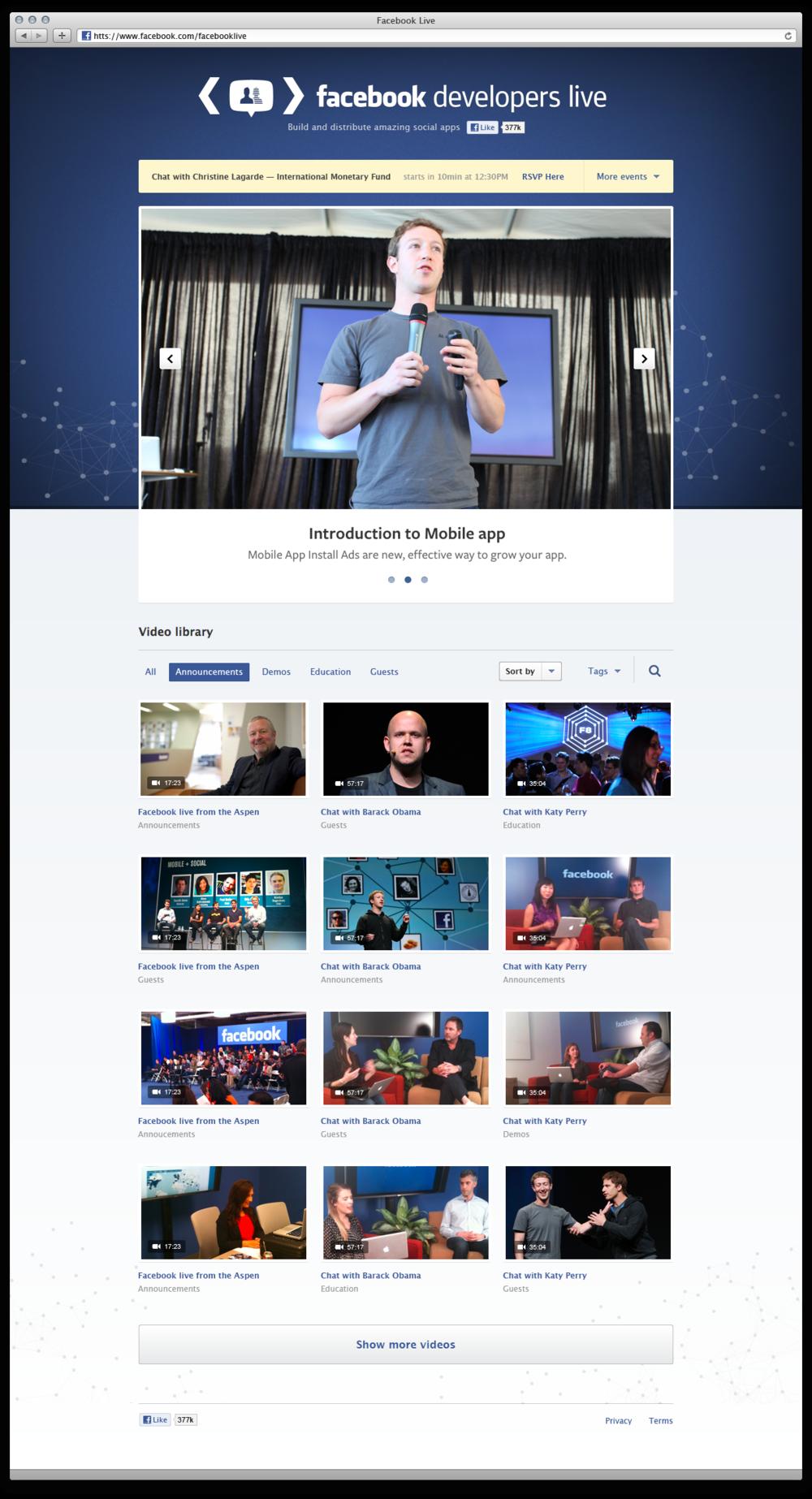 Facebook Live Homepage
