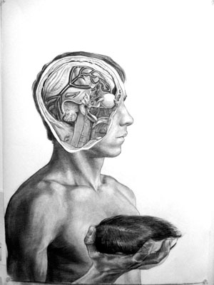 """One Track Mind"", 22"" x 30"", Graphite on Rives BFK, 2009."