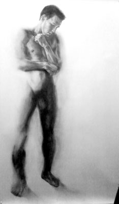 """Inhibited"", 42"" x 74"", Graphite on Rives BFK, 2009."