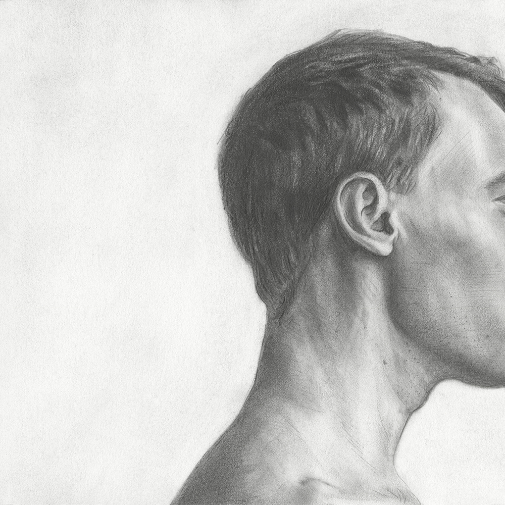"""HERO 16,"" 8"" X 8"", GRAPHITE ON PAPER, 2016."