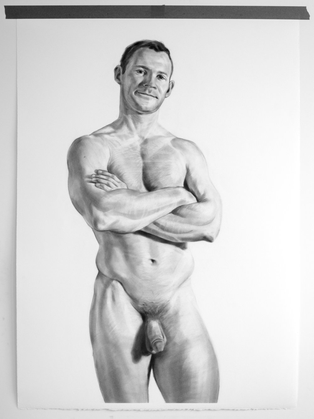 Eddie , 28x40 inches, pencil. Photo captured from a live session and drawing was completed over a one month period.