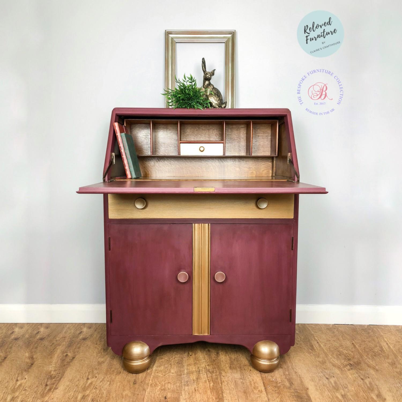 Bureau desk in bordeaux s crafthouse furniture paint accessories furniture restyling workshops