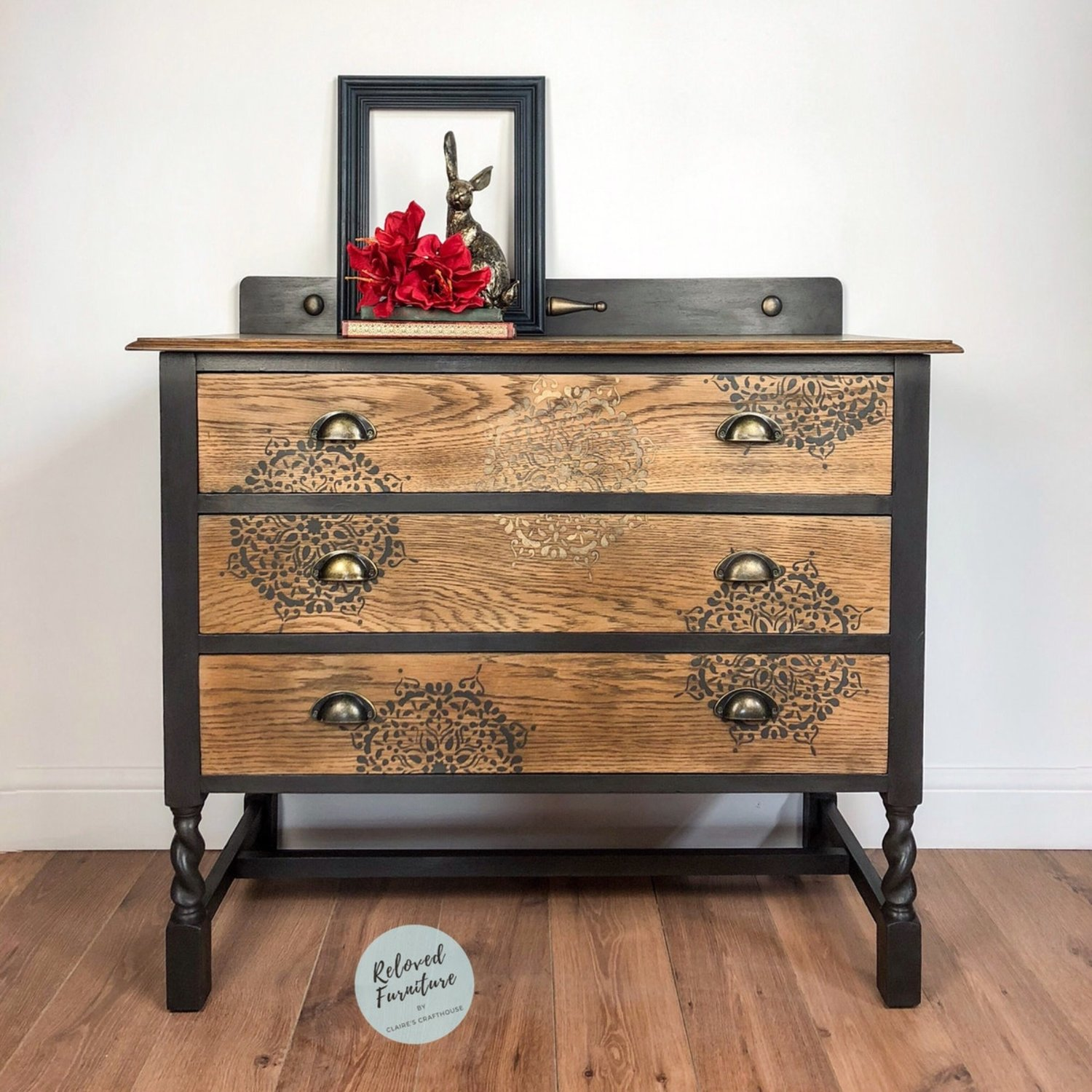Sold black gold stencilled chest of drawers claires crafthouse furniture paint accessories furniture restyling workshops