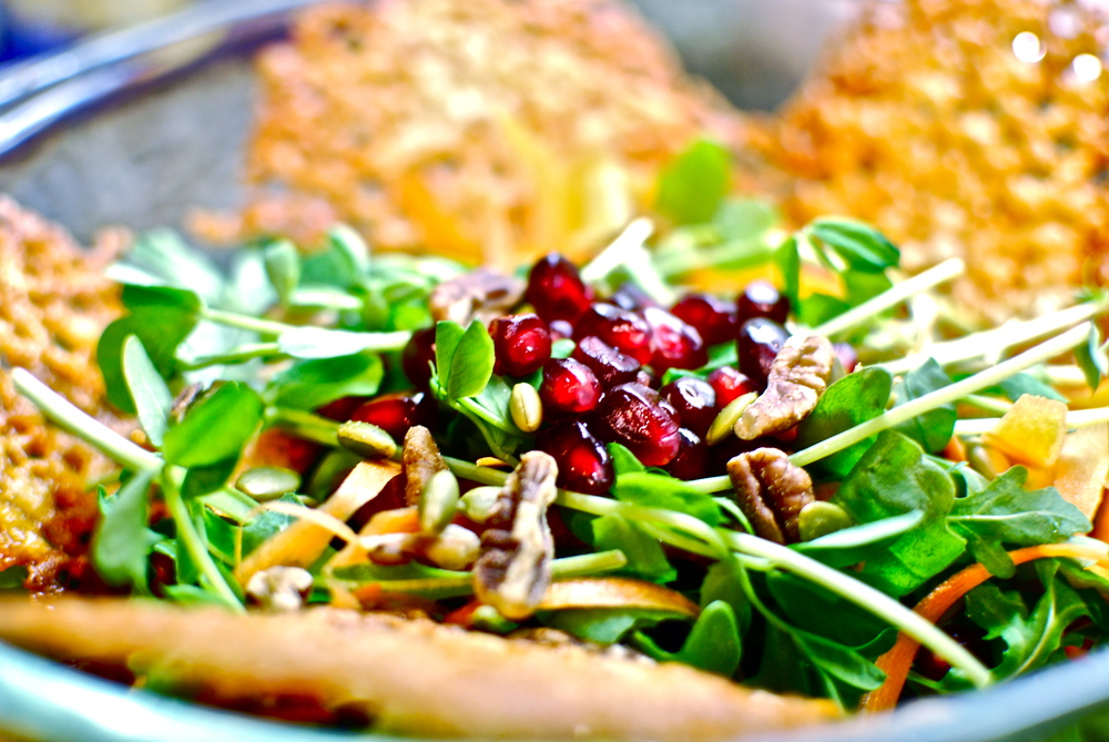 Arugula Pomegranate Salad with Champagne Vinaigrette Dressing and  Parmesan Crisps recipe, healthy cooking, the love of food blog and  recipes. The love of food blog. Mandy Hamilton.