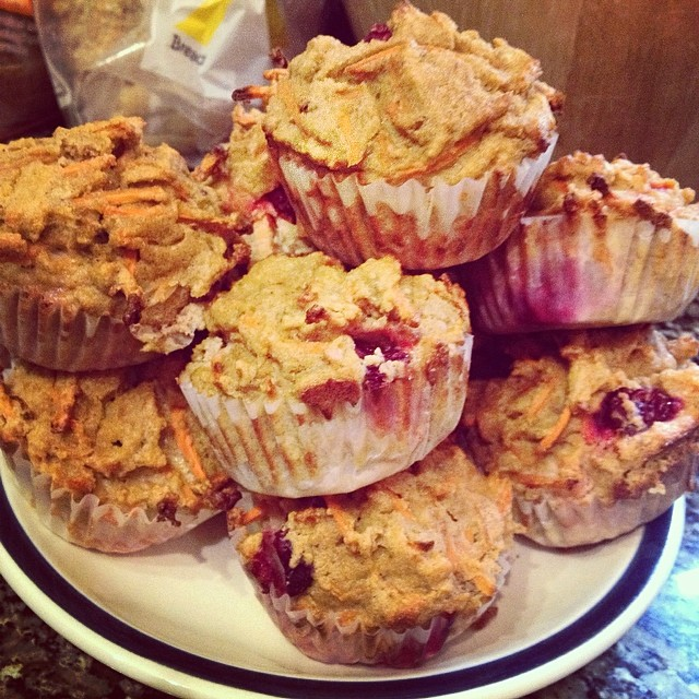 Nothing says Friday like a little baking: cranberry pumpkin carrot muffins 😘