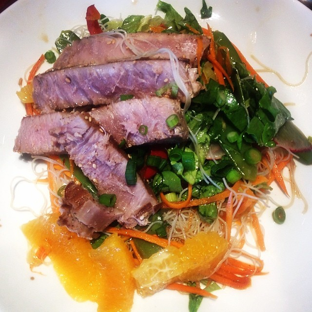 Seared ahi Asian salad #paleo #cleaneating #yum #dinner