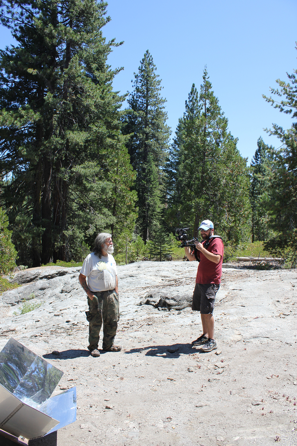 Me following Bob Wells. Sun Oven in the foreground. Sierra National Forest August 2012