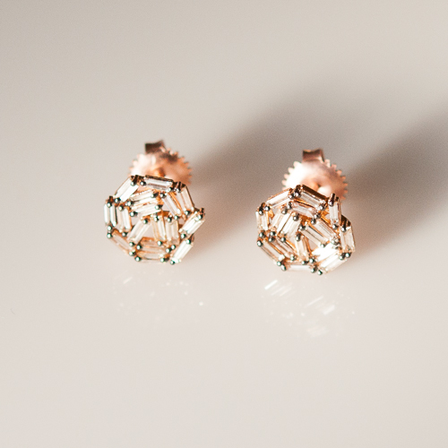 Rose gold and diamond Fireworks post earrings Suzanne Kalan zNcnB5bxwi