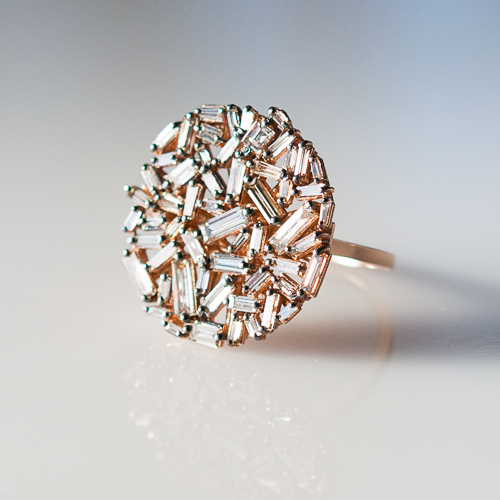 Rose gold round engagement rings