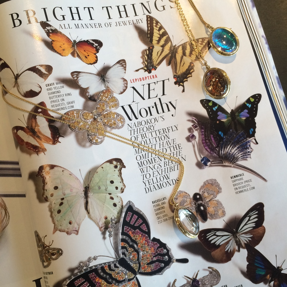 GLADSTONE's signature lockets atop the  Town & Country May 2015 Butterfly editorial.