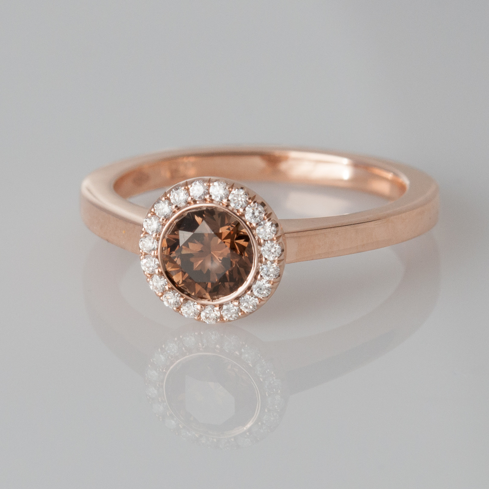 18k Rose Gold Brown Diamond Ring Gladstone Jewelry